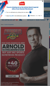 Chemist Warehouse – INC Sports Nutrition – Win a Meet & Greet With Arnold Schwarzenegger Plus 2 VIP Passes to The Arnold Classic 40 Double Passes