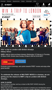 Event Cinemas Cinebuzz – Win a Trip to London With British Airways (prize valued at $12,880)