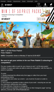 Event Cinemas – Win One of Fifty Peter Rabbit2 Prize Packs Colouring In Entry Children Aged 13yrs & Under