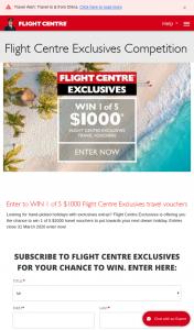 Flight Centre – Win 1 of 5 $1000 Flight Centre Exclusives Travel Vouchers