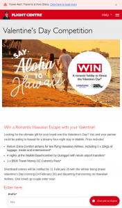 Flight Centre – Win this Romantic Getaway to Hawaii (prize valued at $5,200)