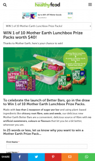 Healthy Food Guide – Win 1 of 10 Mother Earth Lunchbox Prize Packs (prize valued at $400)
