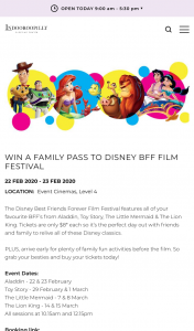 Indooroopilly Shopping Centre – Win a Family Pass to Disney Bff Film Festival