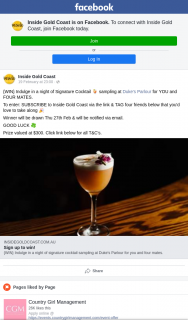 Inside Gold Coast – Win a Night of Signature Cocktail Sampling at Duke's Parlour for Five People (prize valued at $300)