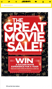 JB HiFi Great Movie Sale – Win Premium Movie Tickets for a Year (prize valued at $3,848)