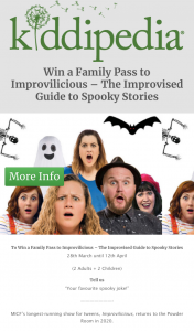 Kiddipedia – Win a Family Pass to Improvilicious – the Improvised Guide to Spooky Stories