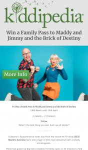Kiddipedia – Win a Family Pass to Maddy and Jimmy and The Brick of Destiny