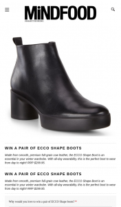 MindFood – Win a Pair of Ecco Shape Boots (prize valued at $299.95)
