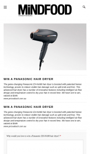 MindFood – Win a Panasonic Eh-Na98 Hair Dryer (prize valued at $349)