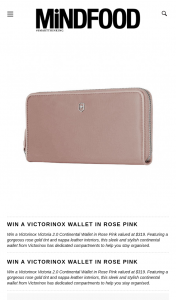 MindFood – Win a Victorinox Victoria 2.0 Continental Wallet In Rose Pink Valued at $319. (prize valued at $319)
