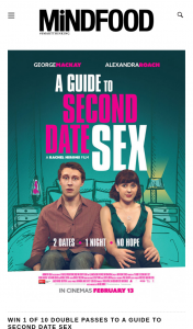MindFood – Win 1 of 10 Double Passes to a Guide to Second Date Sex (prize valued at $40)