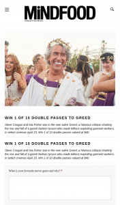 MindFood – Win 1 of 10 Double Passes Valued at $40. (prize valued at $40)