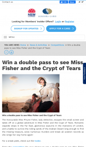 NSW Seniors Card – Win a Double Pass to See Miss Fisher and The Crypt of Tears