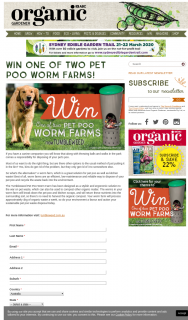 Organic Gardener – Win One of Two Pet Poo Worm Farms (prize valued at $750)