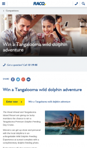 RACQ – Win a Tangalooma Premium Dolphin Feeding Day Cruise (prize valued at $4,788)