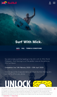 Red Bull – Win a Trip for 2 to California for a Private Surf Lesson With Mick Fanning (prize valued at $30,000)
