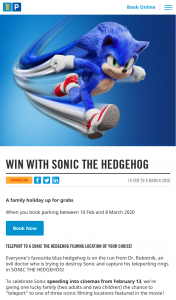 Secure Parking Sonic The Hedgehog promotion – Competition