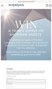 Sheridan – Win a Year's Supply of Sheridan Sheets