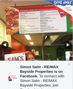 Simon Salm Re-Max Bayside Properties – Win 2 Large Pizza's From Sam's Pizza to Celebrate National Pizza Day on Sunday 9th Feb
