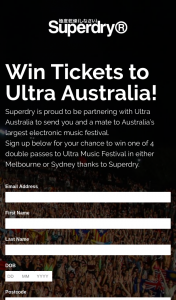 Superdry – Win One of 4 Double Passes to Ultra Music Festival In Either Melbourne Or Sydney Thanks to Superdry (prize valued at $1,450)