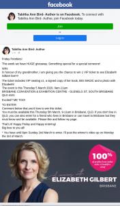 Tabitha Ann Bird Author – Win 1 VIP Ticket to See Elizabeth Gilbert Live