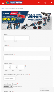 Total Tools – Win 1 of 5 18v 6 Piece Combo Kits (prize valued at $1,699)
