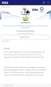 Visa Woolworths Online  – Win an Experience of a Lifetime at The Olympic Games Tokyo 2020. (prize valued at $25,950)