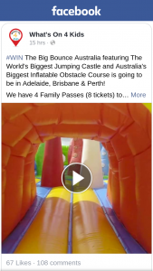 What's on 4 Kids – Win The Big Bounce Australia Featuring The World's Biggest Jumping Castle and Australia's Biggest Inflatable Obstacle Course Is Going to Be In Adelaide
