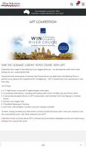 Wine Selectors – Purchase any Dozen to – Win The Ultimate Luxury River Cruise With Apt (prize valued at $18,000)