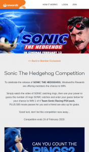 Woolworths Rewards – Win 1 of 4 Team Sonic Racing PS4 Pack (prize valued at $20,655)
