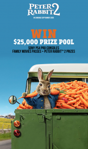 Just Veg. – Win 1 of 5 major prizes of a Sony PS4 Pro Console each OR 1 of 200 Family Movie tickets to see Peter Rabbit 2