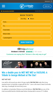 Airtrain Brisbane – Win a Double Pass to Wet Wet Wet Or Fastlove