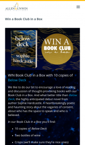 Allen & Unwin – Win Book Club In a Box With 10 Copies of Below Deck (prize valued at $380)
