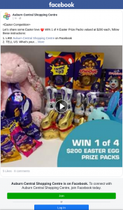 Auburn Shopping Centre – Win 1 of 4 Easter Prize Packs Valued at $200 Each (prize valued at $200)