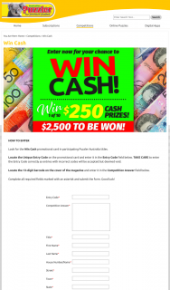 AUSTRALIAN PUZZLER – Win Cash Promotional Card In Participating Puzzler Australia Titles (prize valued at $2,500)
