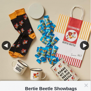 Bertie Beetle Showbags – Win a Bertie Beetle Retro Merchandise Set Mug Set Tin and Socks a 10kg Carton of Bertie Beetle Chocolates and 2 X Adult Passes to The 2020 Sydney Royal Easter Show (prize valued at $374)