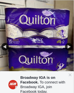 Broadway IGA – Win Two 16 Pack Quilton Toilet Rolls