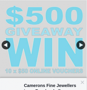 Camerons Fine Jewellery – Win One of Ten $50 Shopping Vouchers (prize valued at $500)