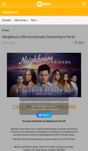 Channel Ten – Win Double Pass to Neighbours 35th Anniversary Screening In Perth (prize valued at $1)
