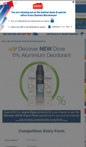 Chemist Warehouse – Dove – Win The Ultimate AFLw Grand Final Experience (prize valued at $10,000)