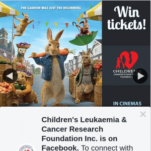 Children's Leukaemia & Cancer Research – Win a Family Pass to See Peter Rabbit 2 In Cinemas March 19th