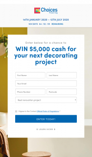 Choices Flooring – Win $5000 Cash for Your Next Decorating Project (prize valued at $5,000)