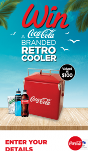 """Coca Cola – Participating Uni Outlets buy 2 x CC [All varietals] – Win a Coca-Cola Branded Retro Cooler Terms & Conditions (""""conditions of Entry"""") (prize valued at $3,200)"""