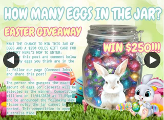 Connect Jobs – Win a $250 Coles Gift Card & Jar of Easter Eggs