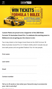 Custom Plates – Win 2 4-day Tickets to 2020 Formula 1® Rolex Australian Grand Prix (prize valued at $1,870)