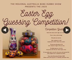 Dubbo Show Society – Win Jar of Easter Eggs Guessing Comp