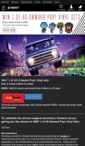 Event Cinemas – Win One of Forty Onward Pop Vinyl Sets (prize valued at $79.8 AUD)