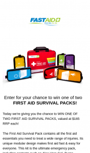 FastAid – Win One of Two First Aid Survival Packs (prize valued at $165)