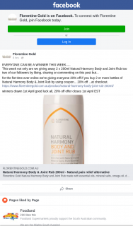 Florentine Gold – Win One of Two Bottles of Natural Harmony Body & Joint Rub