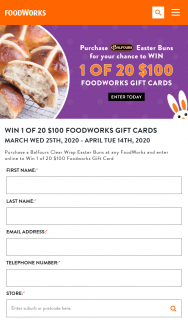 Foodworks-Balfours – Win 1 of 20 $100 Foodworks Gift Cards (prize valued at $2,000)